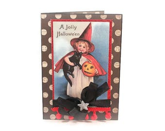 Halloween Card, Retro, Nostalgic, Vintage Postcard, Witch, Black Cat, Pumpkin, Handmade Halloween Card, Luxury Card, Cute Witch Card