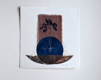 Brote / Original artwork. Textile toned cyanotype, thread and leaf on paper.