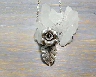 Flower with Leaf sterling silver pendant necklace