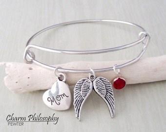 Mom Memorial Bracelet - Angel Wings Adjustable Bangle Bracelet - In Memory of Jewelry - Personalized Swarovski Birthstone - Sympathy Gift