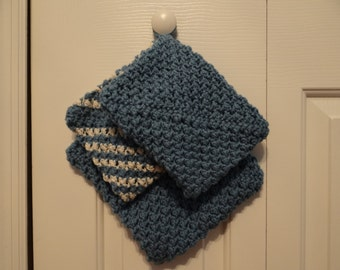 Pot Holders- Set of 3 in Country Blue