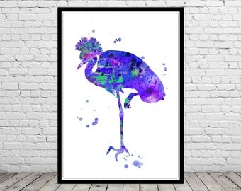Crane, Crane art, watercolor crane, crane  print, bird,  wall decor, watercolor bird, crane bird (2742b)