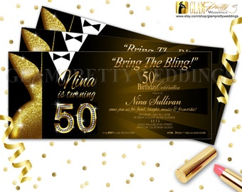 Gold & Black 50th Birthday Party Invite Glam Glitz Bring the Bling Black Tie Party Dress - Printable or Printed - Style Name: LESLIE
