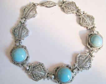Vintage Silver Tone Filigree Faux Turquoise Stones Bracelet