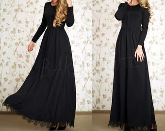 Black Maxi Dress Party Long Dress Evening Long Dress with sleeves Black lace Dress