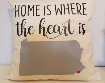 Personalized Throw Pillow - PA Home Is Where Your Heart Is - Choose Any State - Perfect For Housewarming Gifts, Weddings, Anniversary