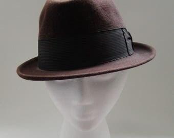 Mens Fedora//Womens Fedora//Champ Hat//Brown Felt//Silk Finish//Size 6 7/8