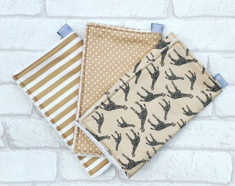 Burp Cloth // Baby burp cloth bundle set of 3 with black Giraffes, brown and white spots and brown and white stripes from newborn