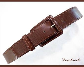 Authentic vintage brand leather belt Nina Ricci brand vintage France vintagefr logo couture paris