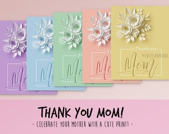 Mother's Day Printable Gift - Thank you Mom! - Gift for Mom - Mother's Day - Printable Mom Gift - Printable Home Decor - Mum Gift - 8x10''