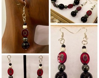 Red Beaded Hematite and Onyx  Earring and Bracelet Set