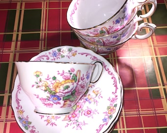 Crown Staffordshire Bone China Hand Decorated Tea Cup & Saucer