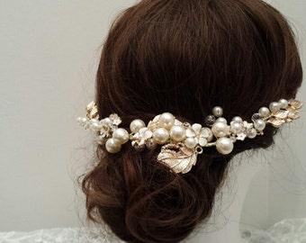 """10"""" Luxe Bridal Hair Chain Wedding Crown Hair Wreath_  VT08"""