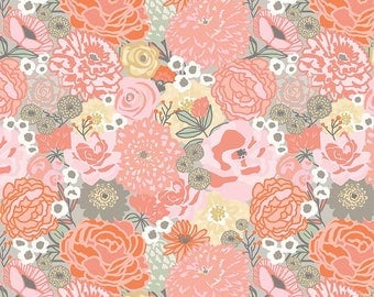 Ava Rose Main Coral - Riley Blake Designs - Pink Floral Flowers - Quilting Cotton Fabric - by the yard fat quarter half