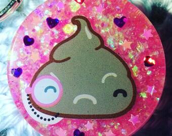 Fancy Pink Monocle Poop Charm Keychain