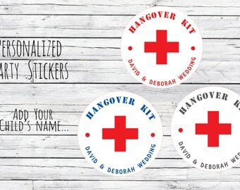 DIY Custom Hangover Kit , Wedding Stickers, Favor Tags, Labels, Thanks for Coming,Wedding Labels, Wedding Favour Stickers, Wedding Ideas