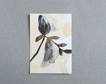 Watercolor painting original art blue grey flower leaves