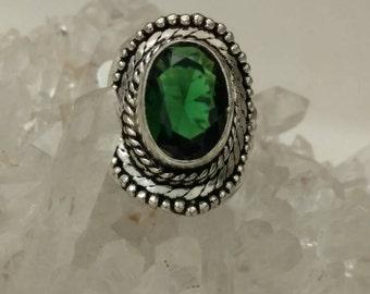 Green Quartz Ring Size 6