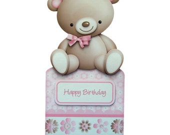 My Cute Teddy Bear Birthday Card Handcrafted 3D Decoupage Card with Matching Envelope Over The Top Teddy Bear Card Child's Birthday