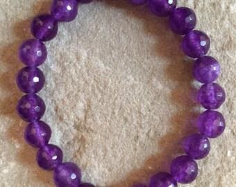 Amethyst 8mm semi precious gemstone bracelet
