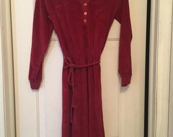 Vintahe 1970s velour  red dress size smal