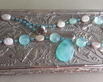 Seafoam Chalcedony  Bead Pearl Sterling Necklace  18""