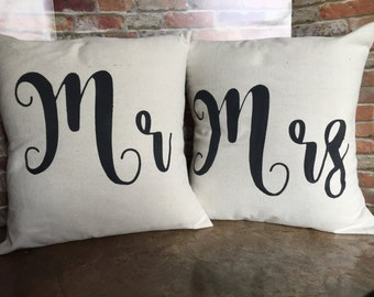 Mr. and Mrs. Pillow Covers, Mr. & Mrs., Canvas Pillow Covers, Wedding Gift, Throw Pillow Covers, Mr. and Mrs. Pillows, 16x16, 18x18, Wedding