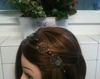 chain headband bronze retro whith brown and gray flowers/serre tete bronze retro en chaine avec fleurs gris et marron