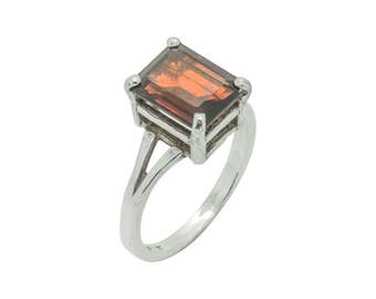 Garnet & Sterling Silver Emerald Cut Ring