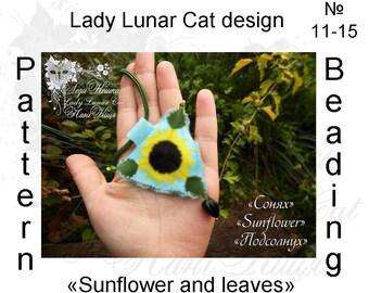 Sunflower patterns,  Triangle peyote pattern, Spring patterns, Summer patterns, Flowers patterns, Seed beads patterns, Peyote stitch