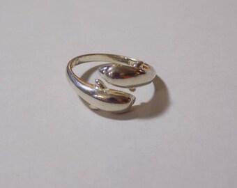 Sterling silver split dauphin ring size 9