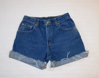 Vintage Levis Cut Off Blue 550 Jean Shorts Red Tab Tag Says Size 4 Waist Measured 27 Inches H