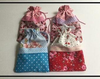 Handmade pretty drawstring bags