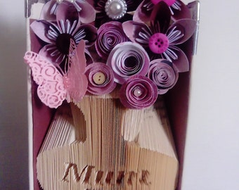 Any Name and Age Vase Book Folding Pattern (combination fold)