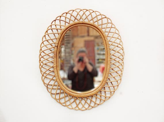 large vintage french oval rattan mirror miroir rotin. Black Bedroom Furniture Sets. Home Design Ideas