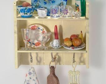 Dollhouse  Kitchen shelf with Accessories 1/12 scale
