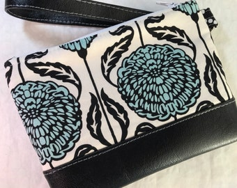 Black and Teal Dahlias Clutch with Faux Leather