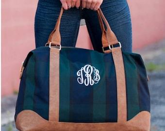 Weekender bag, Monogrammed luggage, travel bag, overnight bag, monogrammed weekender bag, plaid travel bag