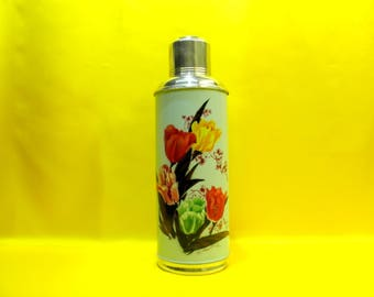 Vintage Thermos, Aluminum Thermos, SUNFLOWER SHANGHAI CHINA Thermos, Metal Camping Thermos, Tulips Floral Design, Chic decor, BalMinDi
