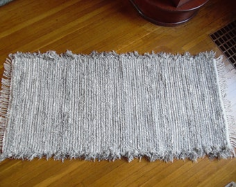 Handwoven Rug, One of a Kind, made on 100 yr old Loom, Gorgeous Upholstery Selvedge Rag Rug, Reversible, Durable