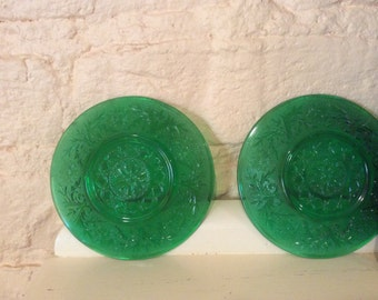 Set of Two Small Plates/Saucers - Green - Emerald - Forest Green