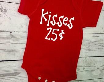 Kisses 25 Cents Boys Valentine's Day Shirt Valentine's Day Toddler Valentine's day onesie Cute Valentine's Day Shirts red onesie