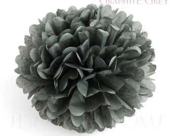 Graphite Grey - Dark Grey Tissue Paper Pom Poms - Wedding Party Decorations - Baby shower Decorations