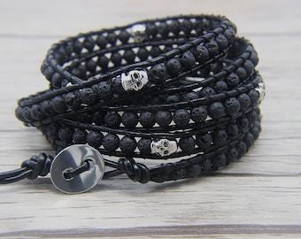 black lava beads bracelet skull bead bracelet skull leather bracelet boho wrap bracelet man bracelet bead wrap bracelet Jewelry SL-0488