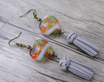 Grey Tassel Earrings Long Earrings Boho Bead Earrings Long Dangle Earrings BOHO Earrings bead Drop Earrings Bohemian Earrings Tassel ED-010