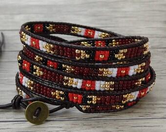 5 wrap Mixed beads bracelet Leather wrap bracelet Boho Beads bracelet Seed beads bracelet Tiny beads bracelet Bohemia bracelet SL-0410