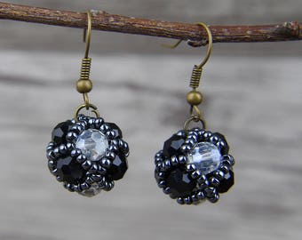 Black And white Facted Beads Earrings Gray Seed Beads Earrings Grass Beas Earrings Crystal Earrings Seed beads Earrings Boho Earrings ED-049