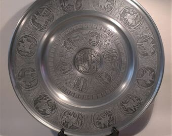 Vintage Pewter Charger Plate, Large Metal Pewter Dish, Renaissance Design, Classic Mythology Decorated Plate, Adam And Eve, Garden Of Eden