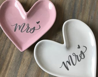 Heart shaped Ring dish | jewelry holder | i love you | mrs