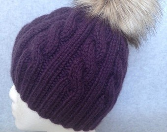 Knitted wool hat with fur pompom, Chunky wool hat with fur pompom,